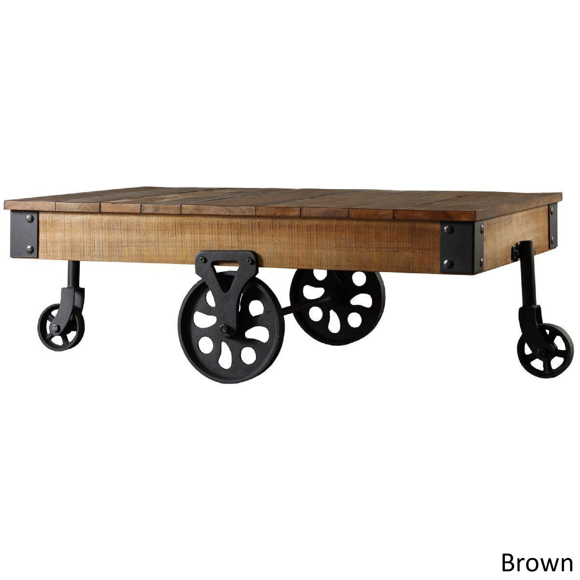 Industrial Coffee Table Vintage Rustic Wood Metal Cart Wheel