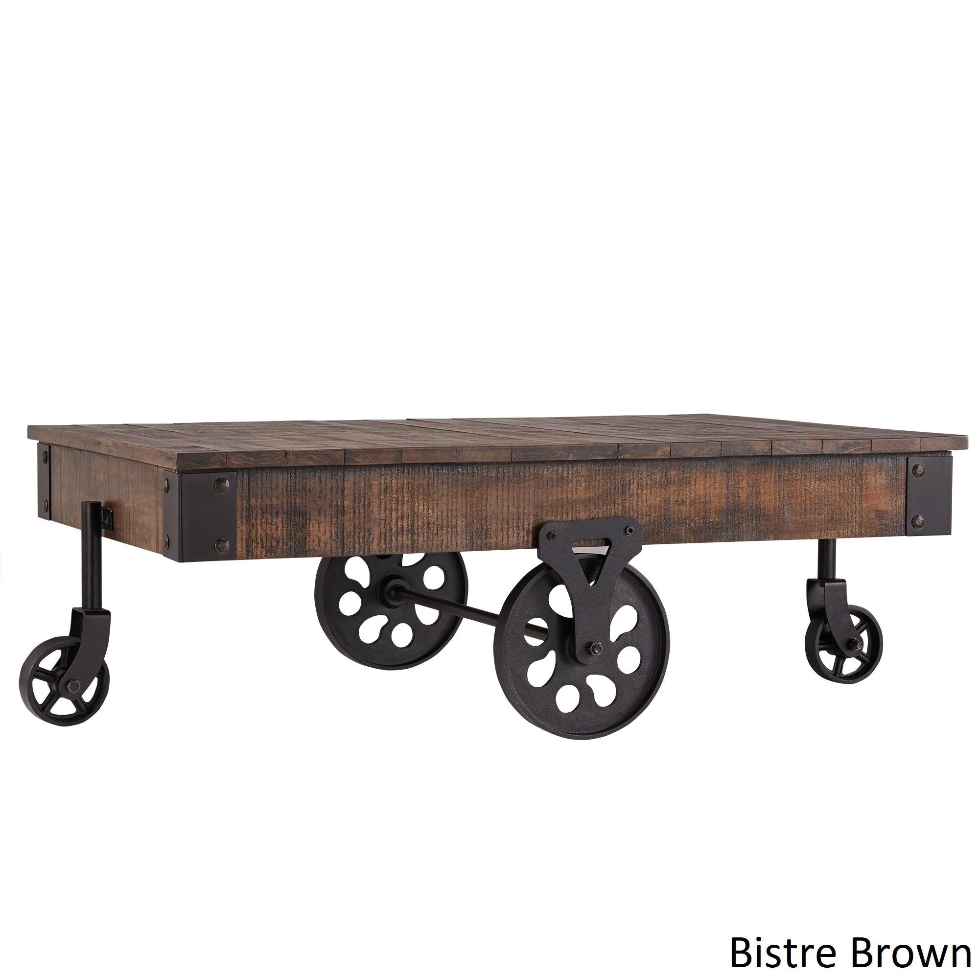 Industrial Coffee Table Vintage Rustic Wood Metal Cart Wheel