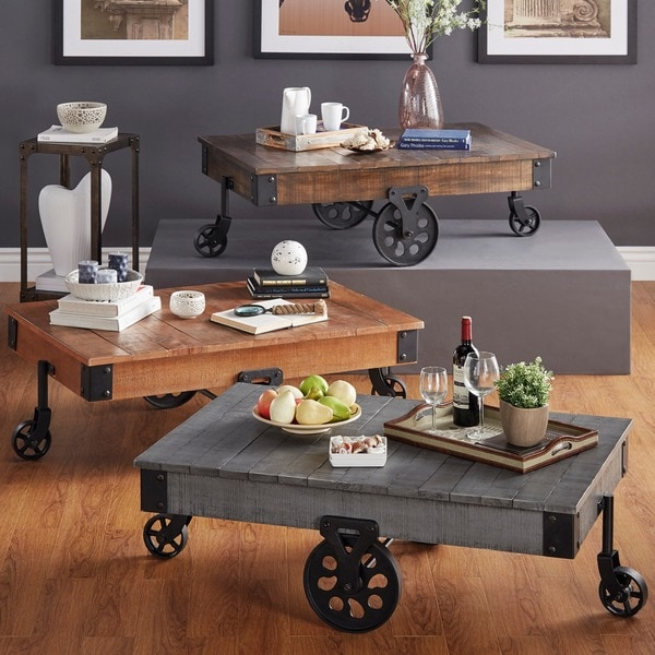 TRIBECCA HOME Myra Vintage Industrial Modern Rustic 47-Inch Coffee Table