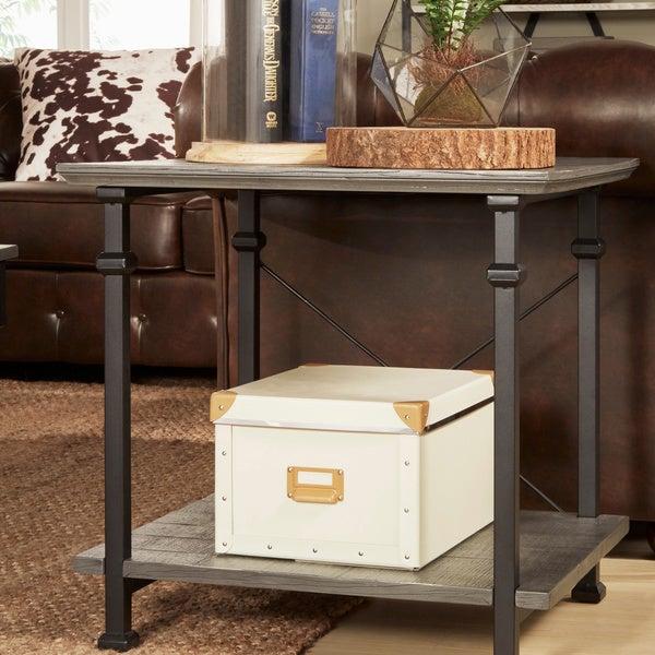 Rustic End Tables myra ii vintage industrial modern rustic end tableinspire q