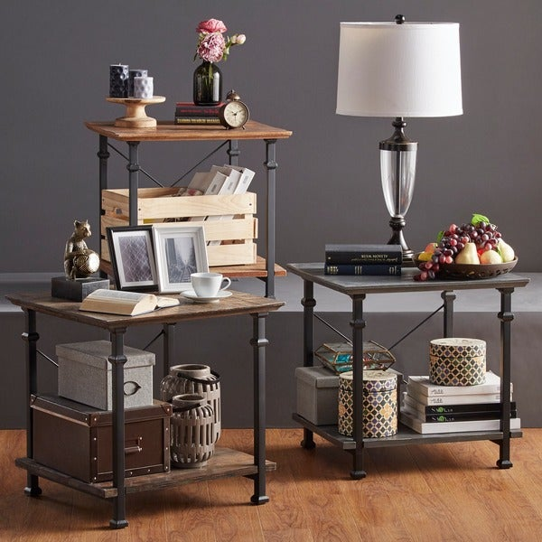 Myra Vintage Industrial Modern Rustic End Table by iNSPIRE Q Classic