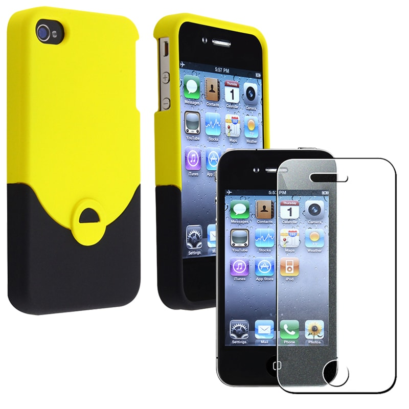 Black/ Yellow Case/ Diamond LCD Protector for Apple iPhone 4/ 4S