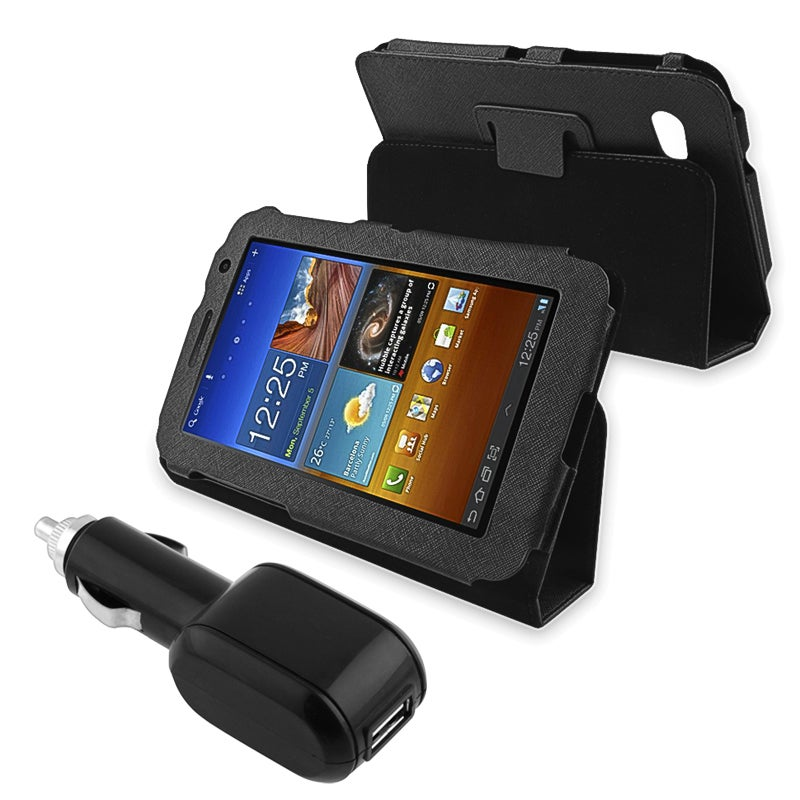 Black Leather Case/ USB Car Charger for Samsung Galaxy Tab 7.0 P6200 - Thumbnail 0