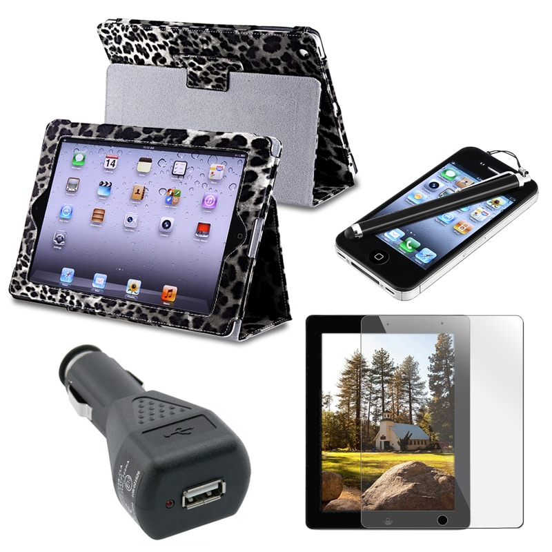 Leather Case/ Screen Protector/ Stylus/ Charger for Apple iPad 2/ 3/ 4