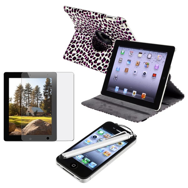 Purple Leather Case/ Screen Protector/ Stylus for Apple iPad 2/ 3
