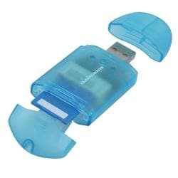 INSTEN Clear Blue USB 2.0 Memory Stick Pro Card Reader - Thumbnail 1