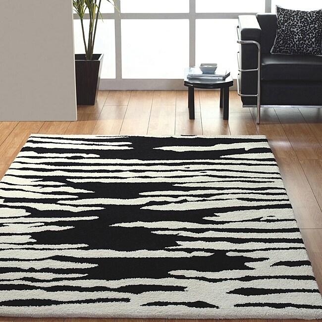 Jovi Home Proximity Hand-tufted Black/ White Wool Rug (8' x 11')
