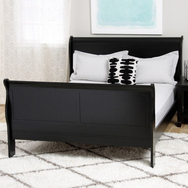 TRIBECCA HOME Canterbury Louis Phillip Black Queen-size Sleigh Bed