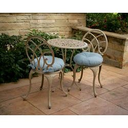 Sky Blue 17-inch Round Indoor-Outdoor Bistro Chair Cushion (Set of 2) - Thumbnail 1