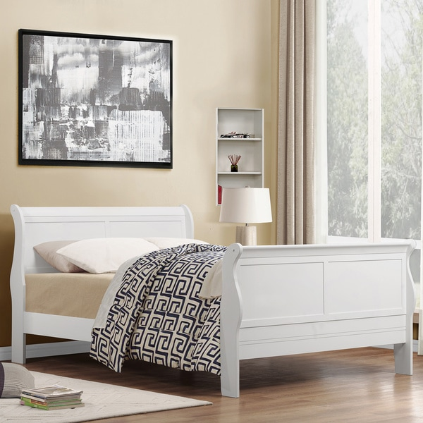 TRIBECCA HOME Canterbury Louis Phillip White Queen size Sleigh Bed. TRIBECCA HOME Canterbury Louis Phillip White Queen size Sleigh Bed