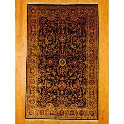 Herat Oriental Indo Hand-knotted Mahal Black/ Red Wool Rug (5'8 x 9'1)