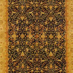 Indo Hand-knotted Bidjar Black/ Ivory Wool Rug (6' x 9')