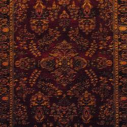 Herat Oriental Indo Hand-knotted Sarouk Burgundy/ Navy Wool Rug (6' x 9') - Thumbnail 1