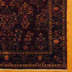 Herat Oriental Indo Hand-knotted Sarouk Burgundy/ Navy Wool Rug (6' x 9') - Thumbnail 2