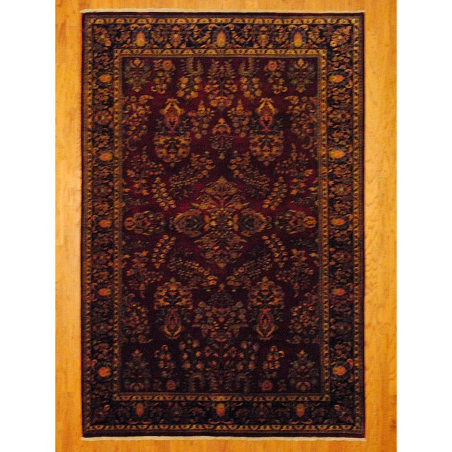 Herat Oriental Indo Hand-knotted Sarouk Burgundy/ Navy Wool Rug (6' x 9') - Thumbnail 0