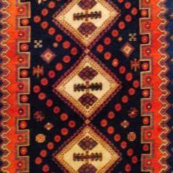Persian Hand-knotted Tribal Hamadan Navy/ Rust Wool Rug (5'10 x 8'4) - Thumbnail 1