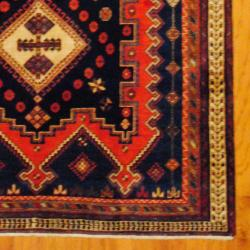 Persian Hand-knotted Tribal Hamadan Navy/ Rust Wool Rug (5'10 x 8'4) - Thumbnail 2