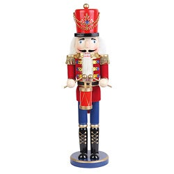 Red 18-inch Drummer Soldier Nutcracker
