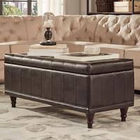 St Ives Lift Top Faux Leather Tufted Storage Bench by iNSPIRE Q Classic