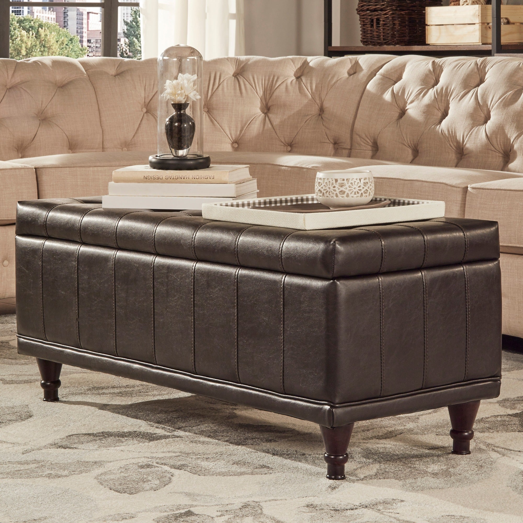 St Ives Lift Top Faux Leather Tufted Storage Bench by iNS...