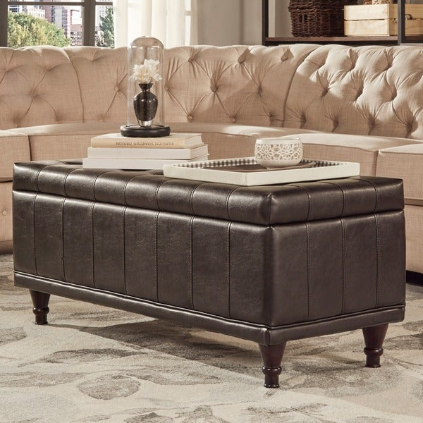 St Ives Lift Top Faux Leather Tufted Storage Bench by INSPIRE Q