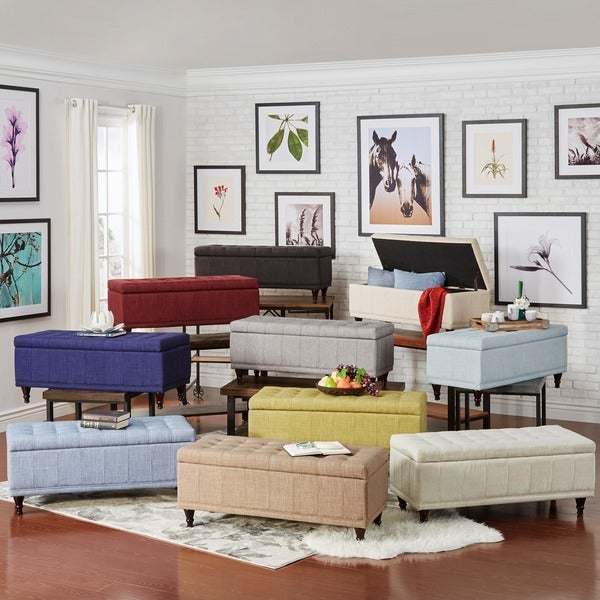 inspire q st ives lift top tufted storage bench bedroom ottoman bench inspiring