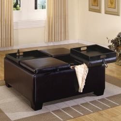 4 Tray Top Espresso Brown Leather Storage Ottoman Coffee Table