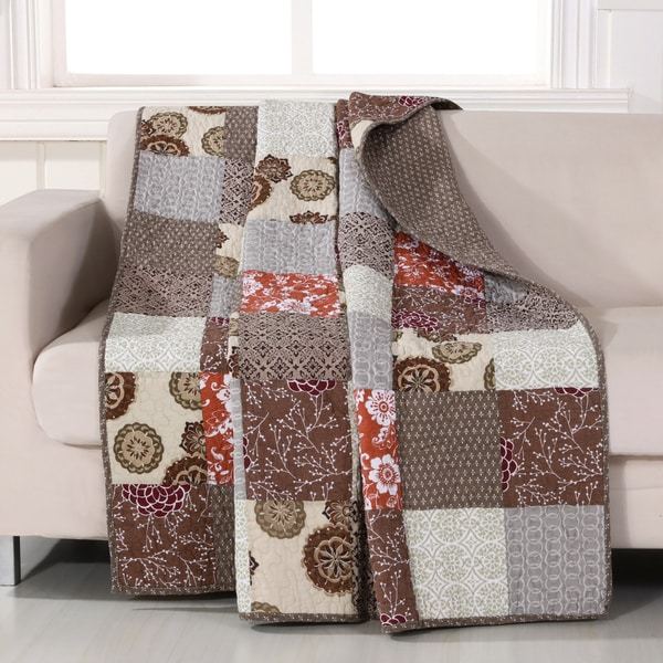 greenland home fashions stella quilted patchwork throw - Greenland Home Fashions