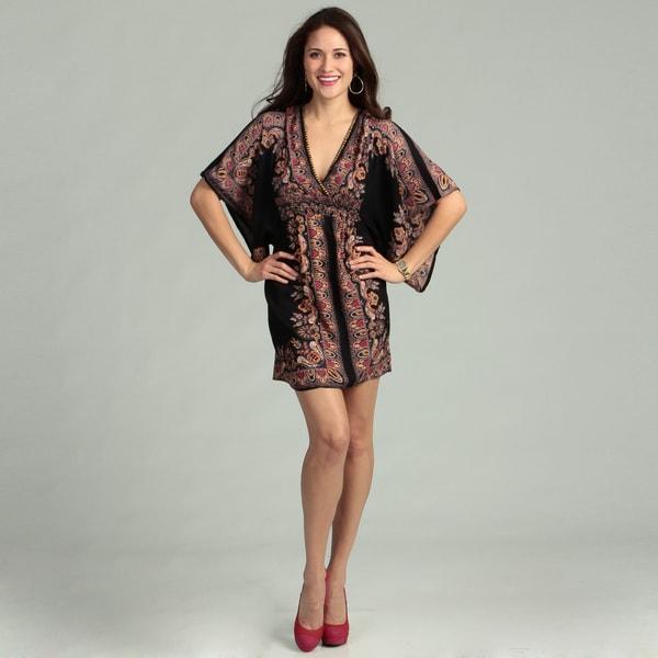 Angie Junior's Black/ Pink Beaded Surplice Dress