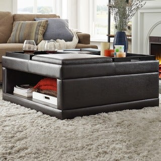 St Ives Cocktail Storage Ottoman With Flip Tray By INSPIRE Q Classic