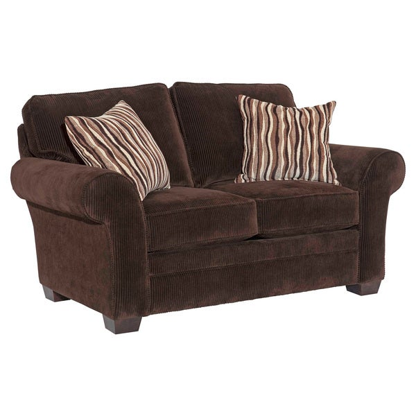 Broyhill Zoey Dark Chocolate Corduroy Loveseat And Accent