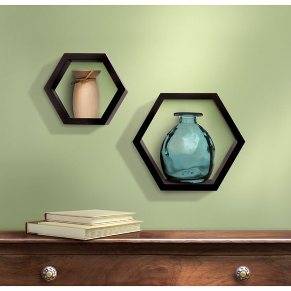 Sarah Peyton Wooden Hexagon Shelves (Pack of 2)
