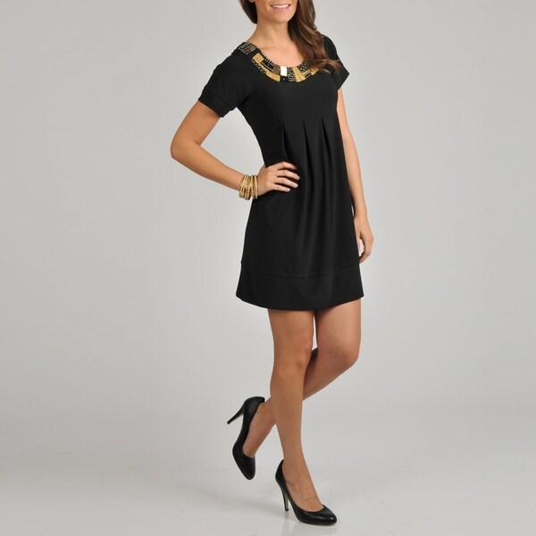 Tiana B. Women's Black Embellished Pleat Front Dress