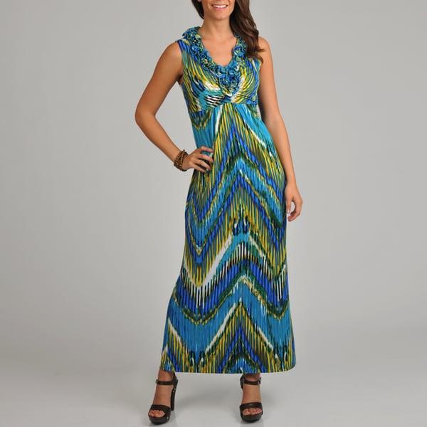 Tiana B. Women's Tribal Ruffle V-Neck Maxi Dress