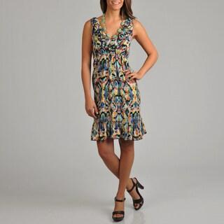 Tiana B. Women's Tribal Ruffle Hem/ V-neck Dress