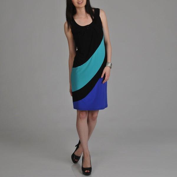 Tiana B. Women's Black Color-block Sleeveless Dress