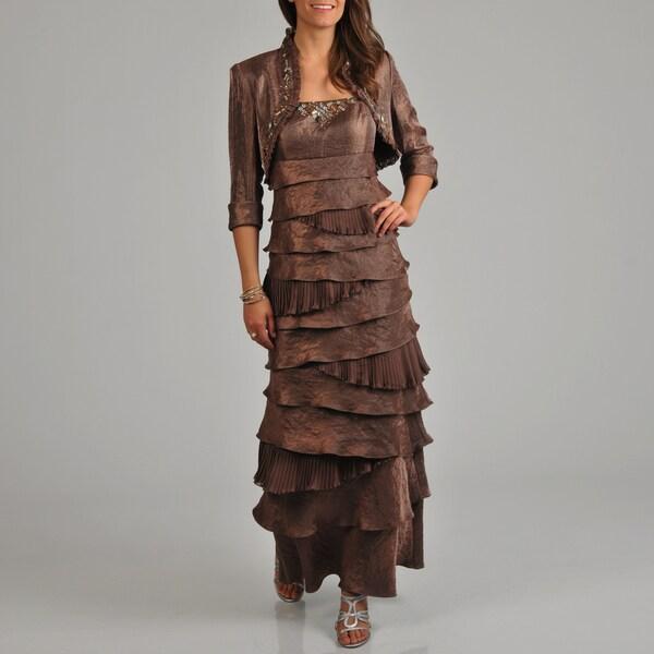 Ignite Evenings Women's Tiered Beaded 2-piece Long Dress Bolero Jacket Set