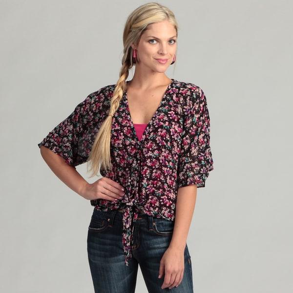 Jessica Simpson Juniors Black Floral Print Top