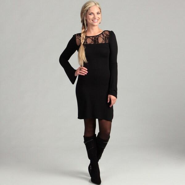 65b81830d54 Shop Jessica Simpson Junior s Long Bell Sleve Lace Inset Dress ...