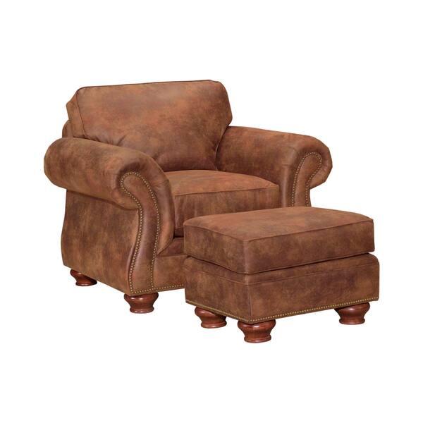 Enjoyable Broyhill Lauren 2 Brown Faux Leather Chair Ottoman Set Uwap Interior Chair Design Uwaporg