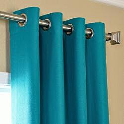 Exclusive Fabrics Cotenza Turquoise Faux Cotton Grommeted Curtain Panel - Thumbnail 1