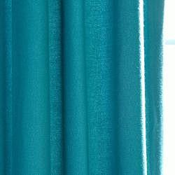 Exclusive Fabrics Cotenza Turquoise Faux Cotton Grommeted Curtain Panel - Thumbnail 2