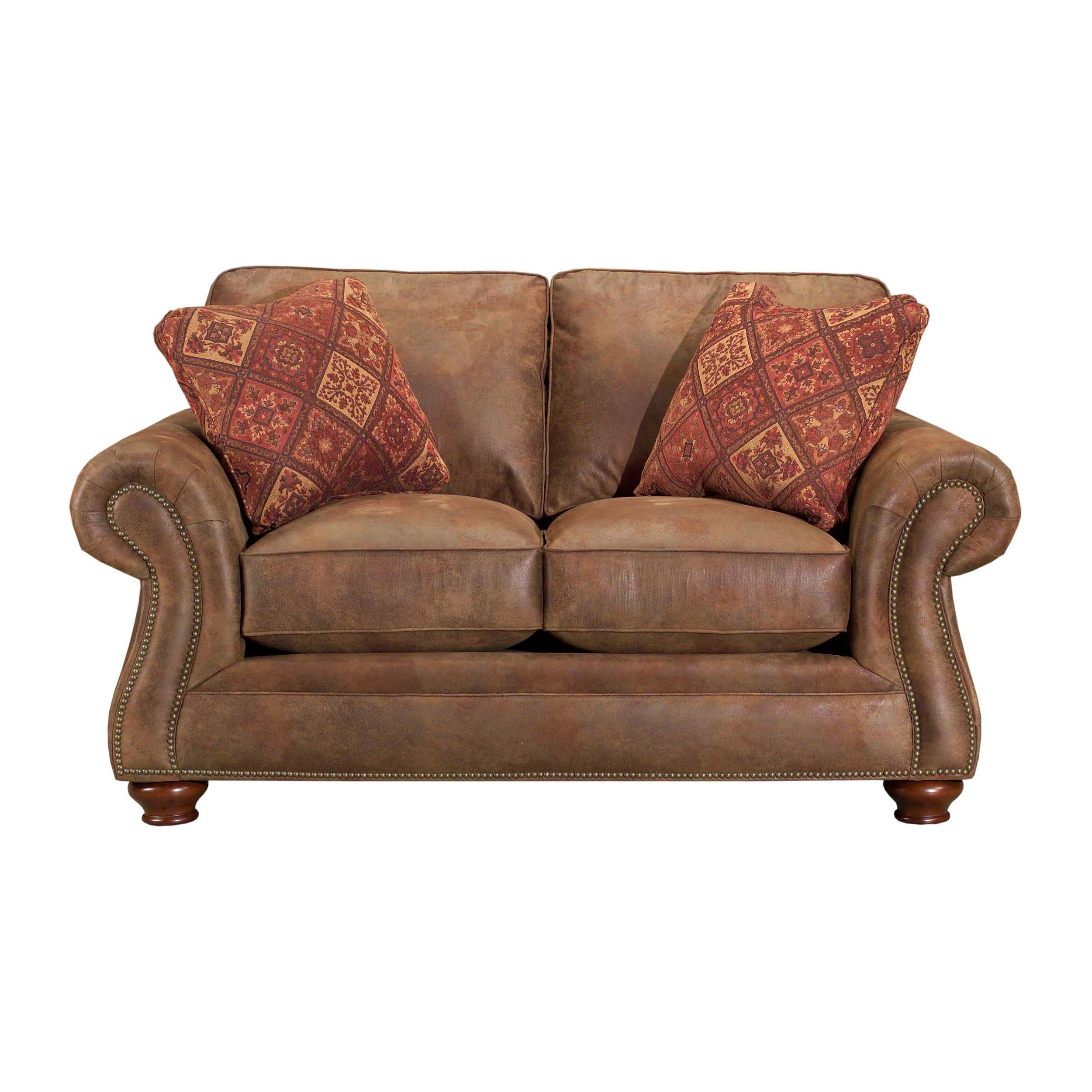 Excellent Broyhill Lauren 2 Brown Faux Leather Loveseat And Pillows Short Links Chair Design For Home Short Linksinfo