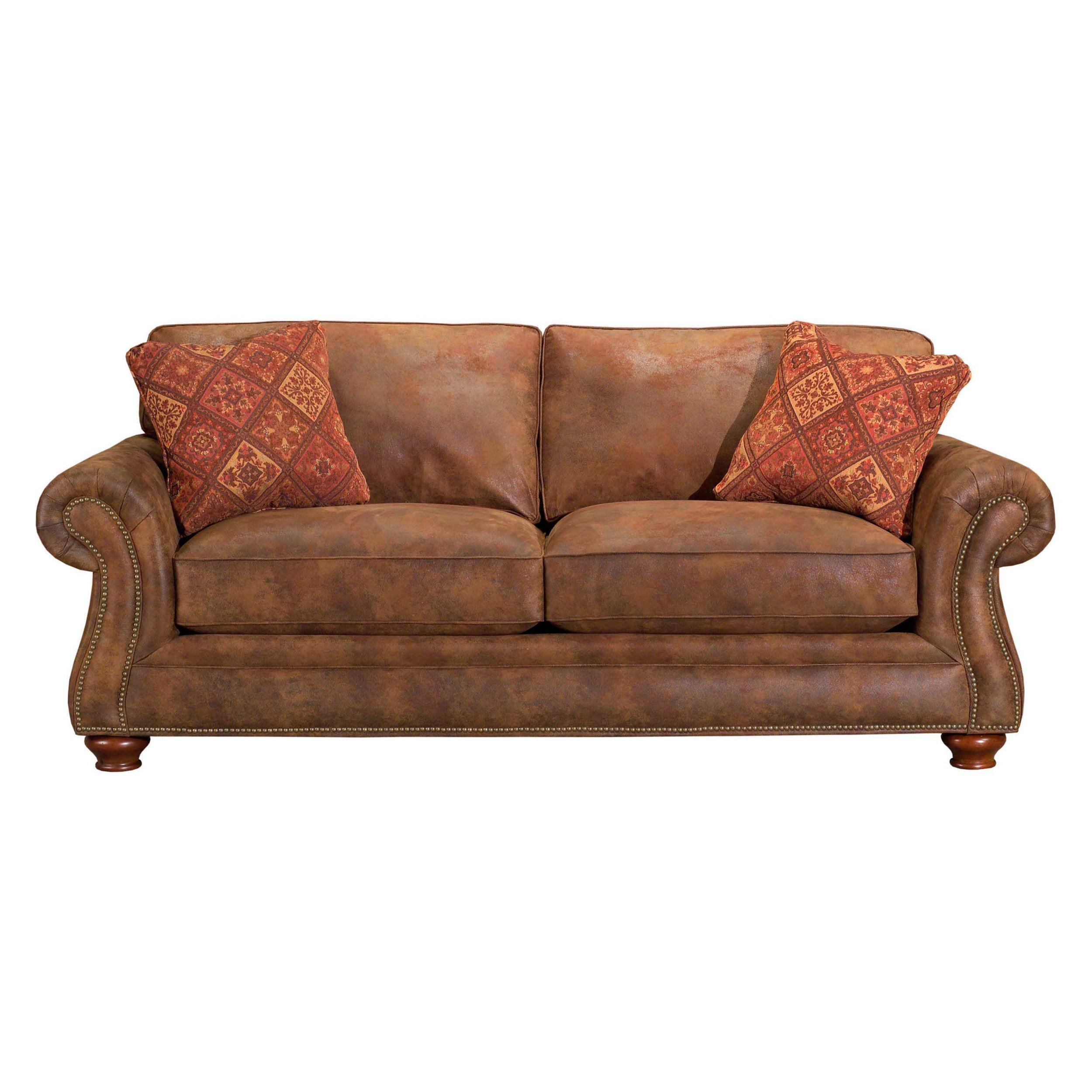 Surprising Broyhill Lauren 2 Brown Faux Leather Sofa And Pillows Squirreltailoven Fun Painted Chair Ideas Images Squirreltailovenorg