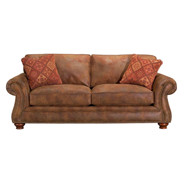 Exceptionnel Broyhill Lauren 2 Brown Faux Leather Sofa And Pillows