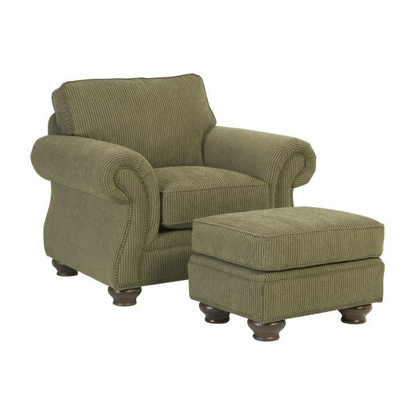 Broyhill Lauren Olive Chair and Ottoman Set