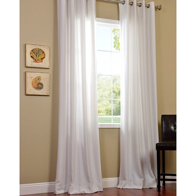 Exclusive Fabrics Polar White Faux Cotton Cotenza Window Curtain Panel