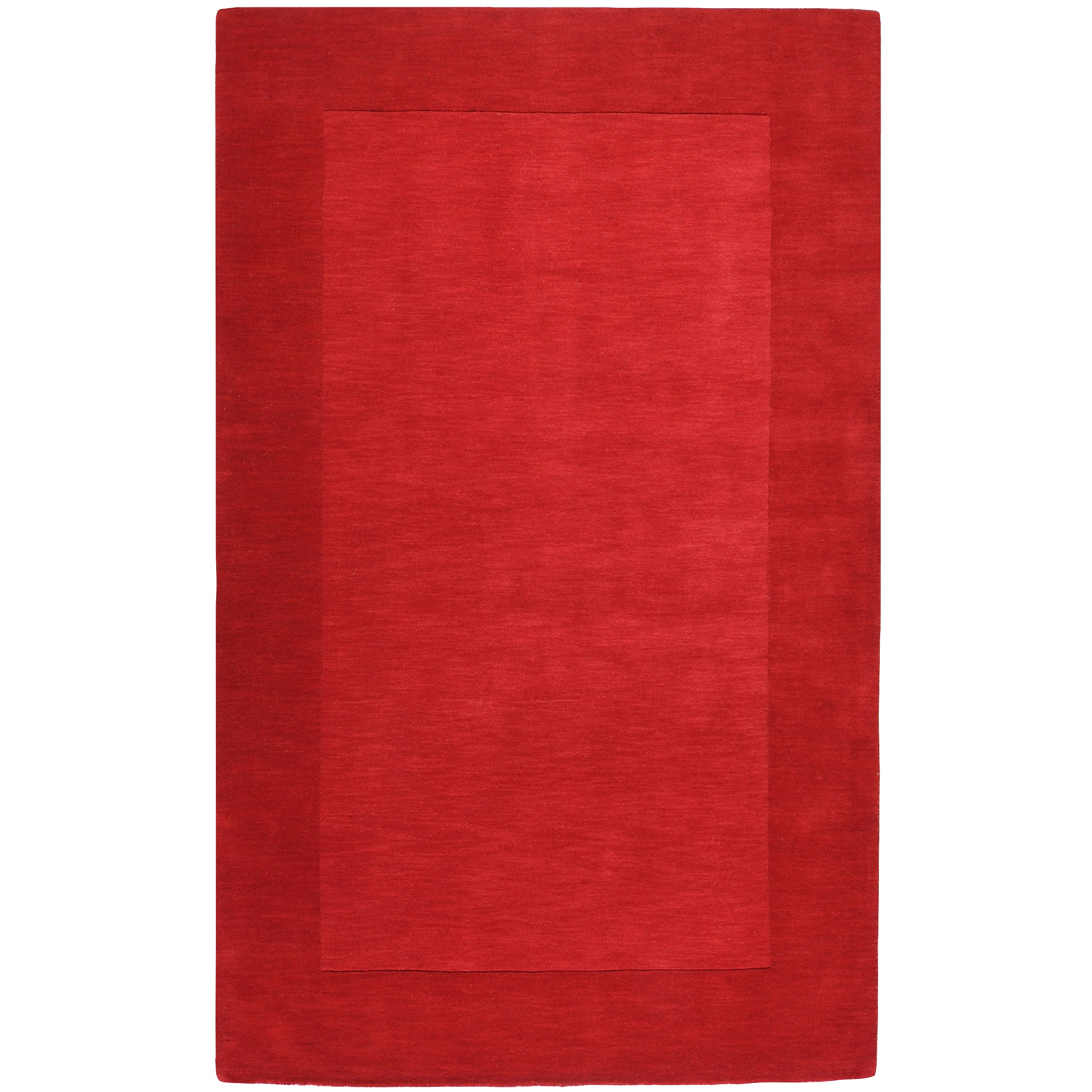 Hand-crafted Solid Red Tone-On-tone Bordered Mantra Wool Area Rug (6' x 9')