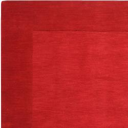Hand-crafted Solid Red Tone-On-tone Bordered Mantra Wool Rug (6' x 9') - Thumbnail 1