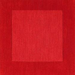 Hand-crafted Solid Red Tone-On-tone Bordered Mantra Wool Rug (6' x 9') - Thumbnail 2